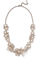 Valentino Gold Tone Crystal And Faux Pearl Necklace Metallic