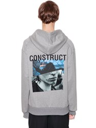 Juun.J Hooded Printed Cotton Sweatshirt Grey