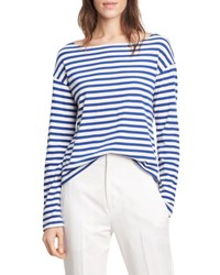 Vince Striped Long Sleeve Boat Neck Tee Vanillacobalt Vanilla Cobalt