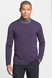 Star Usa By John Varvatos Slim Fit Leather Trim Crewneck Sweater Purple