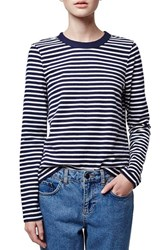 Women's Topshop Boutique Stripe Long Sleeve Top Navy Blue Multi