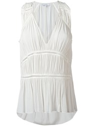 Iro Sleeveless Ruched Tier Top White
