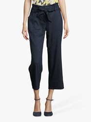 Betty And Co. Cropped Tie Waist Trousers Navy Blue