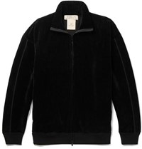 Remi Relief Ribbed Velour Zip Up Track Jacket Black