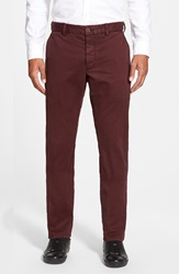 French Connection Slim Fit Stretch Cotton Pants Bordeaux