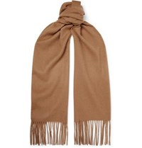 Mulberry Logo Embroidered Fringed Cashmere Scarf Camel