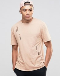 Jack And Jones Crew Neck T Shirt In Washed Cotton With Distressed Detail Nougat Beige