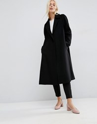 Asos Wool Blend Trapeze Coat In Mid Length Black