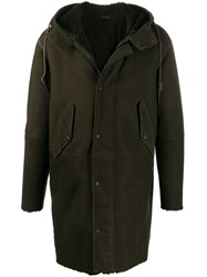 Closed Leather Hooded Coat Green