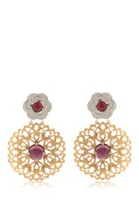 Rodarte Gold Baroque Earrings With Amber And Amethyst Glass Cabochons