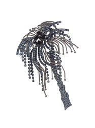 Sonia Rykiel Crystal Embellished Palm Tree Brooch Black Blue
