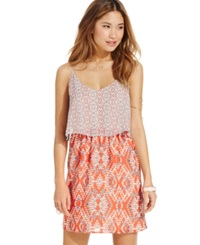 Speechless Juniors' Printed Popover Dress Aqua Coral