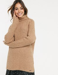 Abercrombie And Fitch Longline Cosy High Neck Jumper Brown