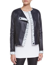 St. John Luxe Napa Leather Jacket W Snake Print Trim Navy Multi