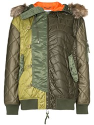 Moschino Hooded Quilted Bomber Jacket Green