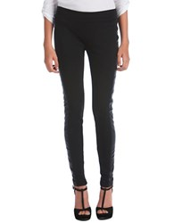 Kensie Ponte Leggings With Faux Leather Trim Black