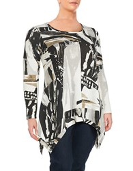 Chelsea And Theodore Plus Printed Roundneck Top Multi