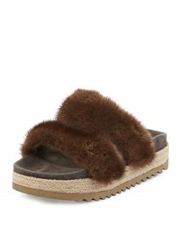 Brunello Cucinelli Mink Fur Two Band Sandal Brown