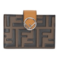 Brown And Yellow 'Forever Fendi' Card Holder