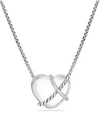 David Yurman Le Petit Coeur Sculpted Heart Chain Necklace With Crystal And Diamonds White Silver