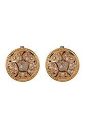 Alor 18K Gold And Diamond Stainless Steel Cable Stud Earrings 0.51 Ctw Metallic