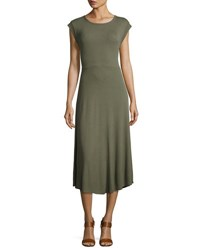 Neiman Marcus Scoop Back Tie Waist Ribbed Dress Sage