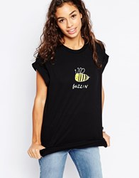 Asos T Shirt With Party Bee Black