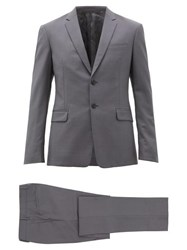 Prada Single Breasted Two Piece Wool Blend Suit Grey