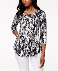 Jm Collection Petite Printed Top Created For Macy's Black Linear Spots