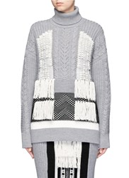 Mame Oversized Tassel Front Cable Knit Turtleneck Sweater Grey Multi Colour