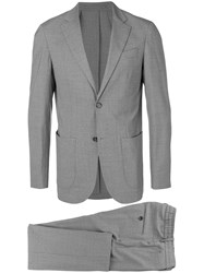 Eleventy Striped Two Piece Suit Grey