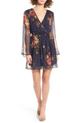 Band Of Gypsies Women's Floral Print Surplice Dress