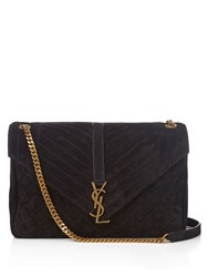 Saint Laurent Monogram Large Quilted Suede Shoulder Bag Black