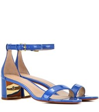 Tory Burch Cecile 55 Patent Leather Sandals Blue