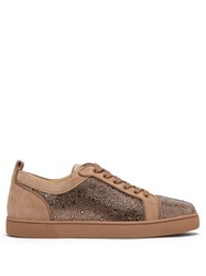 Christian Louboutin Louis Junior Strass Suede Trainers Brown
