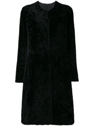 Giorgio Brato Fur Single Breasted Coat Black