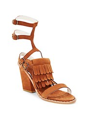 Frēda Salvador Free Fringed Gladiator Block Heel Sandals Tan