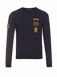 Marc Jacobs Patch Applique Crew Neck Wool Sweater Navy