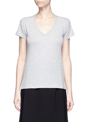 Vince Relaxed Fit Pima Cotton V Neck T Shirt Grey