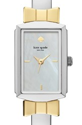 Women's Kate Spade New York 'Bowtie' Bangle Watch 17Mm X 27Mm Silver Mother Of Pearl