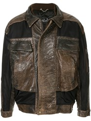 Martine Rose Boxy Fit Leather Jacket Brown