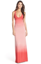 Fraiche By J Ombre Tie Dye Jersey Maxi Dress Coral Ivory