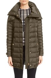 Burberry Women's Brit 'Harrowden' Hooded Down Coat Olive