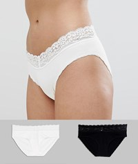 Mamalicious Maternity 2 Pack Lace Trim Briefs Black Snow White Multi