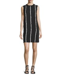 Derek Lam Sleeveless Striped Silk Shift Dress Black White Black Multi