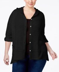 Style And Co Co. Plus Size Hooded Jacquard Cardigan Only At Macy's Deep Black