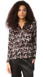 Rebecca Taylor Shadow Flower Top Black Combo