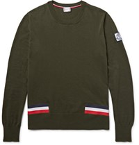 Moncler Gamme Bleu Stripe Trimmed Cotton Sweater Army Green