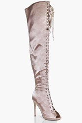 Boohoo Scarlet Satin Lace Up Peeptoe Over The Knee Champagne
