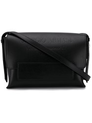 Giorgio Armani Embossed Logo Shoulder Bag Black